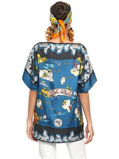 DOLCE & GABBANA - ISOLE EOLIE PRINTED SILK OVERSIZE TOP - LUISAVIAROMA - LUXURY SHOPPING WORLDWIDE SHIPPING - FLORENCE