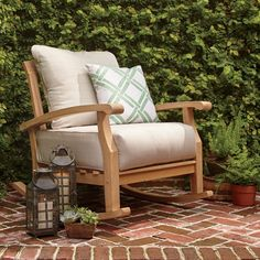 With its durable construction and variegated wood grain, the Summerton Rocking Chair captures the organic beauty of teak. Teak Rocking Chair, Outdoor Rocking Chairs, Teak Oil, Outdoor Seating, Rustic Outdoor, Outdoor Spaces, Outdoor Living, Outdoor Furniture, Cabin Furniture