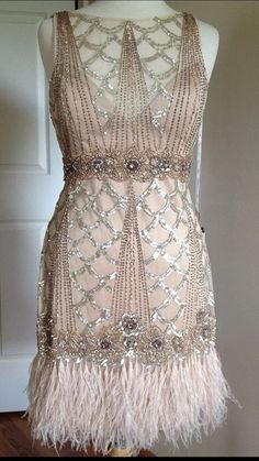 SUE WONG 1920's Gatsby Champagne Beaded Feather Evening Bridal Flapper Dress 12 #SUEWONG #GATSBY #Cocktail