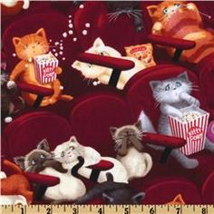 Love this fabric, especially the cat knitting the scarf! Cat Movie, Cat Wine, Another A, Cat Fabric, Kawaii, Cotton Quilts, Cotton Fabric, Cute Illustration, Textile Patterns