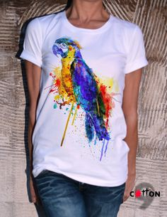 Parrot Cotton Tshirt / White T-Shirt / Handmade Tight by Cotton9