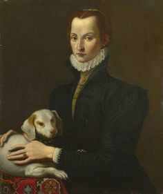 Portrait of a Lady with a dog. By an unknown Italian painter, late 16th century.