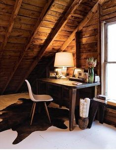Loft Home Office with Wooden Roof and Brown Wooden Table