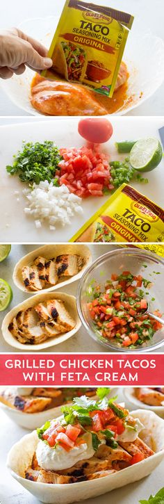 Looking for a quick and easy dinner recipe, that is loaded with flavor? These Grilled Chicken Tacos with Feta Cream from @GirlWhoAte are the perfect solution! Simple grilled chicken is topped with homemade pico de gallo, and topped off with flavor-packed feta cream! These tacos are sure to surprise and delight your whole family!