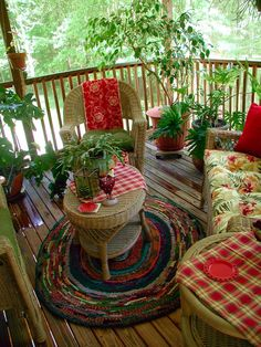 Porch with cottage red and white style
