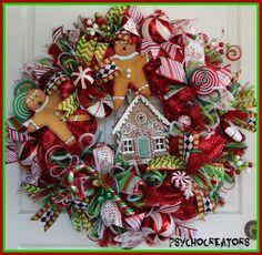 XL Gingerbread Man Wreath  Christmas Deco Mesh by PsychoCreators