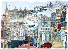 Thames - Liz Somerville Love this illustration. Silent Book, Rule Britannia, London Art, Urban Sketching, London Calling, City Art, Cityscapes, Art Journals, Children's Books