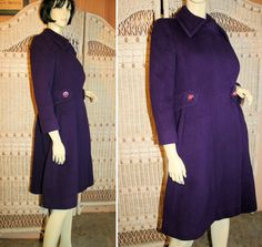 70s Mod Purple Wool Wrap Coat with Belt and Pink Jewel Buttons, MorningGlorious on Etsy