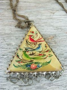 Vintage handpainted mother of pearl pendent with by houuseofwren