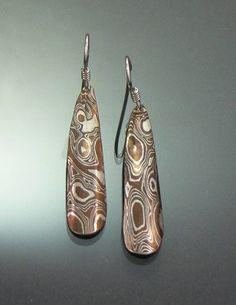 Dorit Herlinger  Mokume Earrings #242   Jewelry Ceramic Jewelry, Copper Jewelry, Resin Jewelry, Jewelry Art, Jewelry Design, Jewellery, Metal Clay, Tribal Jewelry, Polymer Clay Earrings