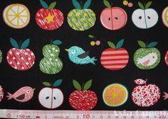 Apple and happiness bird black half yard cottom linen by AsiaQueen, $7.50