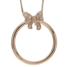 Pink Gold Plated Sterling Silver Diamond Bow Two in One Pendant Necklace and Ring,Size 7: Jewelry: Amazon.com