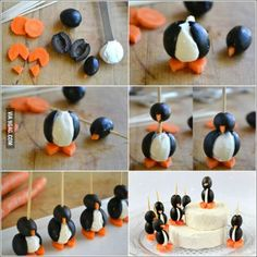 Today I eat penguins: mini mozzarella balls, carrots and grapes (instead of Olives)