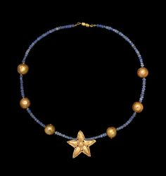 Greek Gold and Glass Bead Necklace, 5th-3rd Century BCRestrung, modern clasp