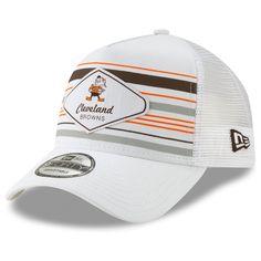 3ce42ddd0cd455 Men's New Era White Cleveland Browns Indo A-Frame Trucker 9FORTY Adjustable  Snapback Hat