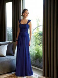 Formal Column Straps Floor Length Chiffon Bridesmaid / Wedding Party / Evening Dress