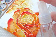 watercolor/embossed card
