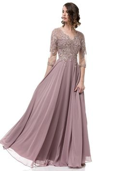 Floor Length Fantasy A-Line Chiffon Lace Mauve Mother of the Bride Groom Dress upto Mother Of The Bride Plus Size, Mother Of The Bride Suits, Mother Of Groom Dresses, Bride Groom Dress, Mothers Dresses, Mob Dresses, Plus Size Dresses, Formal Dresses, Formal Wear