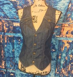 Lux Womens Sz M Denim Fitted Button Down Vest Sexy Chic Retro Flattering #Lux #Casual