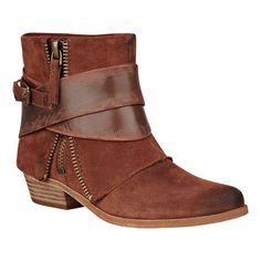 """Burnished almond toe bootie with exposed zipper and strap detailing.  Stacked leather 1.5"""" heel.  This style is available exclusively @ Nine West Stores & ninewest.com."""