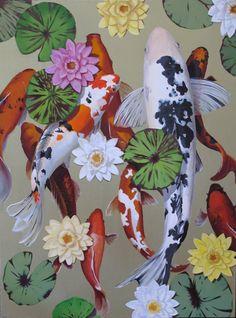Original Acrylic painting of Koi by BryanCohenPaintings on Etsy