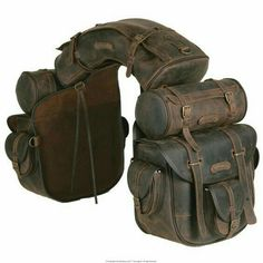 Complete, unique saddle bag, ideal for trekking riders and long riders. The saddle consists of a saddle bag with six pockets and quick release, long inner ties for a more secure closure, one cantle bag and two round saddle bags which can be detached and Riding Gear, Horse Riding, Royal Enfield, Leather Projects, Motorcycle Gear, Retro Motorcycle, Motorcycle Accessories, Custom Bikes, Leather Working