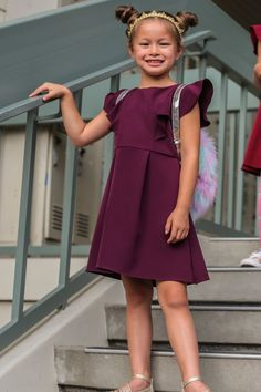 e0e9275c39 Purple Flutter Skater Dress with Pleated Skirt Girls 2-12   Plus 14x-18x