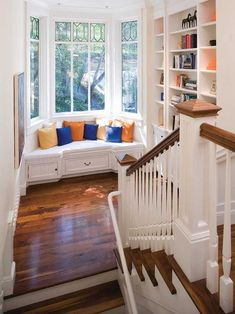Bay window seat reading nook with drawers and book storage. On stair landing Decor, Design Remodel, House Design, Traditional Staircase, Window Seat, Window Nook, Home Decor, House Interior, Room Decor