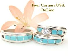 Turquoise Inlay Wedding Band Rings and Bridal Engagement Ring Sets | Four Corners USA OnLine Native American Jewelry http://stores.fourcornersusaonline.com/native-american-wedding-rings/