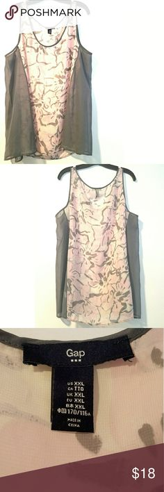 "Gap XXL Gray & Lt Pink Chiffon Tank Top This Gap XXL Gray & Lt Pink Chiffon Tank Top is in great used condition. Bust measures 25"" across laying flat measured from pit to pit so 50"" around. No stretch.  29"" long. Sheer polyester. ::: Bundle and save! ::: No trades. GAP Tops Tank Tops"