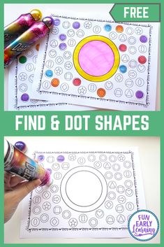 Find and Dot Matching Shapes Free Printable Math Activity! Fun activity for learning shape identification and matching in preschool and kindergarten! Free Preschool, Preschool Crafts, Preschool Shapes, Science Crafts, Matching Shapes, Daycare Forms, Do A Dot, Pre K Activities, Learning Shapes
