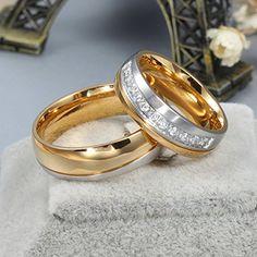 Ihr & Damen Ring Love Titan 18K vergoldet Hochzeit Engagements Band 6 mm U.S. Größe 7