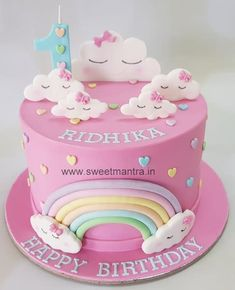 Clouds theme fondant cake for girls birthday - cake by Sweet Mantra - Customized cakes, Designer Wedding/Engagement cakes in Pune 3rd Birthday Cakes For Girls, 1st Birthday Cake For Girls, Cute Birthday Cakes, Rainbow Birthday Cakes, Birthday Cake Designs, Baby Girl Birthday Decorations, Birthday Kids, Cake Designs For Girl, Girls Cake Ideas