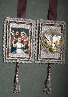 Assim na Terra como no Céu - Imagens Sacras,Escapulários e Estandartes Religious Icons, Religious Art, Diy And Crafts, Arts And Crafts, Holy Rosary, Handicraft, Hand Embroidery, Craft Projects, Knitting