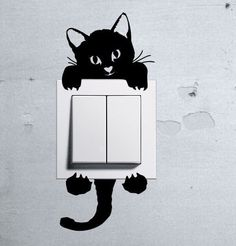 Cute Kitty Cat Baby Pet light switch funny wall decal vinyl stickers Kids z in Home, Furniture & DIY, Home Decor, Wall Decals & Stickers Vinyl Wall Decals, Wall Stickers, Decoration Ikea, Funny Wall Art, Cat Light, Cat Wall, Decorate Your Room, Deco Design, Home Wall Decor