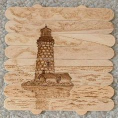 How cool- Lighthouse drawn on icy pole sticks!!!