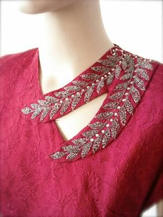 Beaded Wine Lace Gown with Matching Bow by BygonesVintageRVA Kurta Neck Design, Saree Blouse Neck Designs, Neckline Designs, Dress Neck Designs, Collar Designs, Blouse Designs, Sleeve Designs, Neck Designs For Suits, Back Neck Designs