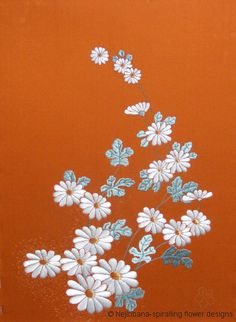gallery of images, dawn chrysanthemums - completed embroidery, traditionaal Japanese embroidery techniques