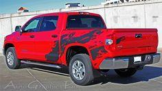 Toyota Tundra Truck TRD Part Custom Rear Decal Wrap TORN - Custom tundra truck decals