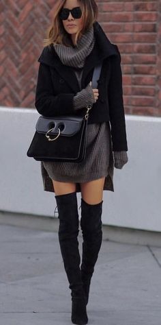 d899f59581b9d Black and Grey Coat - Pair of Black Thigh-High Boots Outfit