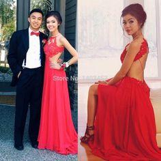 Vestido de festa 2015 Red vivian vo farmer Chiffon Halter Long Prom Dresses With Applique Criss Cross Prom Dress Party Gowns-in Prom Dresses from Weddings & Events on Aliexpress.com | Alibaba Group