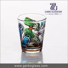Design hand painting glass tumbler, nice for gift.