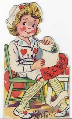 668-Vintage Valentine Card-Nurse Nursing a Broken Heart (02/12/2011)