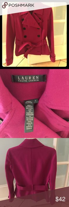Beautiful winter jacket Double-breasted. Hip-length. Matching tie belt. Fully lined. 95% wool. Dress up or down. Worn only once and in excellent condition. A classic addition to any wardrobe. Measures 23 inches in length. Sleeve length measures 24.5 inches. Lauren Ralph Lauren Jackets & Coats