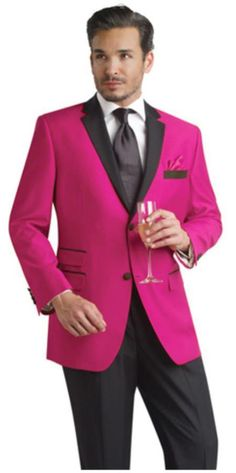 SKU#FHY99 Fuchsia ~ fuschia ~ hot Pink Two Button Notch Party Suit & Tuxedo & Blazer w/ Black Lapel 7 days delivery