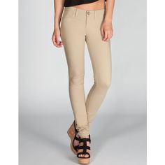 RSQ Miami Womens Jeggings ($30) ❤ liked on Polyvore featuring pants, leggings, jeans, khaki, jeggings, jean leggings, rsq, khaki leggings and zip pants