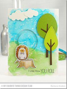 Happy Hedgehogs Stamp Set and Die-namics, Circle Spinner Channels Die-namics, Tree-mendous Die-namics, Puffy Clouds Die-namics - Barbara Anders  #mftstamps