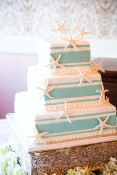 Our wedding cake with edible starfish