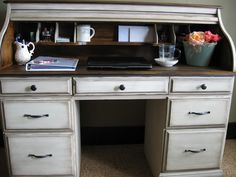How to refinish a roll-top desk.  I'm glad I told dad to save his old desk for me!