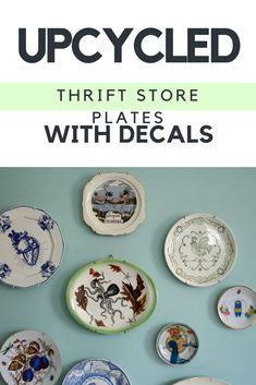 Upcycled thrift store plates are great for plate walls! Add decals to customize them and make your own fun patterns. Upcycled thrift store plates are great for plate walls! Add decals to customize them and make your own fun patterns. Spray Paint Plastic, Diy Spray Paint, Upcycled Home Decor, Upcycled Crafts, Upcycled Furniture, Diy Crafts, Make Your Own, Make It Yourself, Thrift Store Crafts